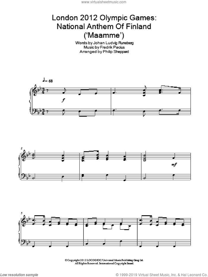 Maamme sheet music for piano solo by Philip Sheppard, Fredrik Pacius and Johan Ludvig Runeberg, classical score, intermediate skill level