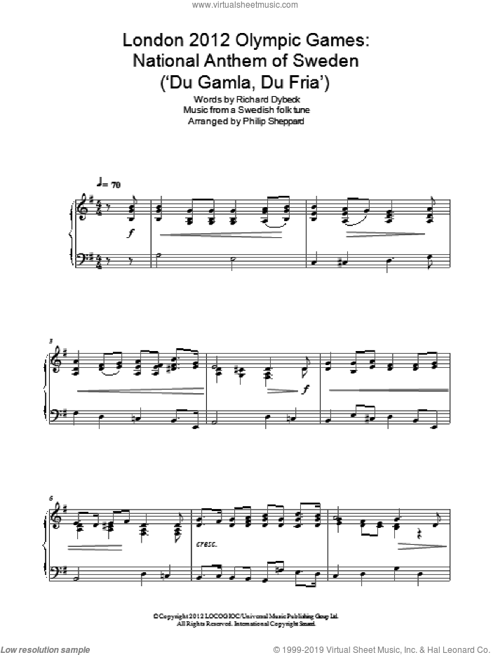 London 2012 Olympic Games: National Anthem Of Sweden ('Du Gamla, Du Fria') sheet music for piano solo by Philip Sheppard, Old Swedish Folk music and Richard Dybeck, classical score, intermediate skill level