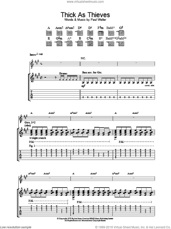Thick As Thieves sheet music for guitar (tablature) by The Jam and Paul Weller, intermediate guitar (tablature). Score Image Preview.