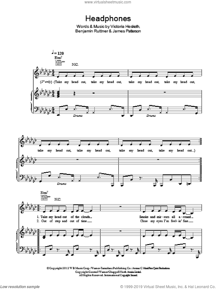 Headphones sheet music for voice, piano or guitar by Victoria Hesketh. Score Image Preview.