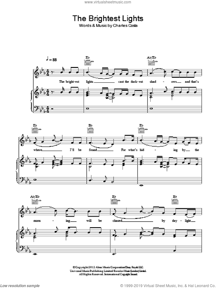 The Brightest Lights sheet music for voice, piano or guitar by King Charles featuring Mumford & Sons and Charles Costa, intermediate skill level