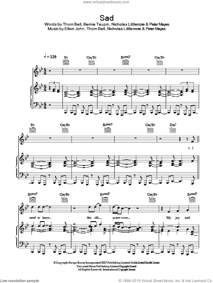 Sad sheet music for voice, piano or guitar by Thomas Bell, Bernie Taupin, Elton John, Nicholas Littlemore and Peter Mayes. Score Image Preview.