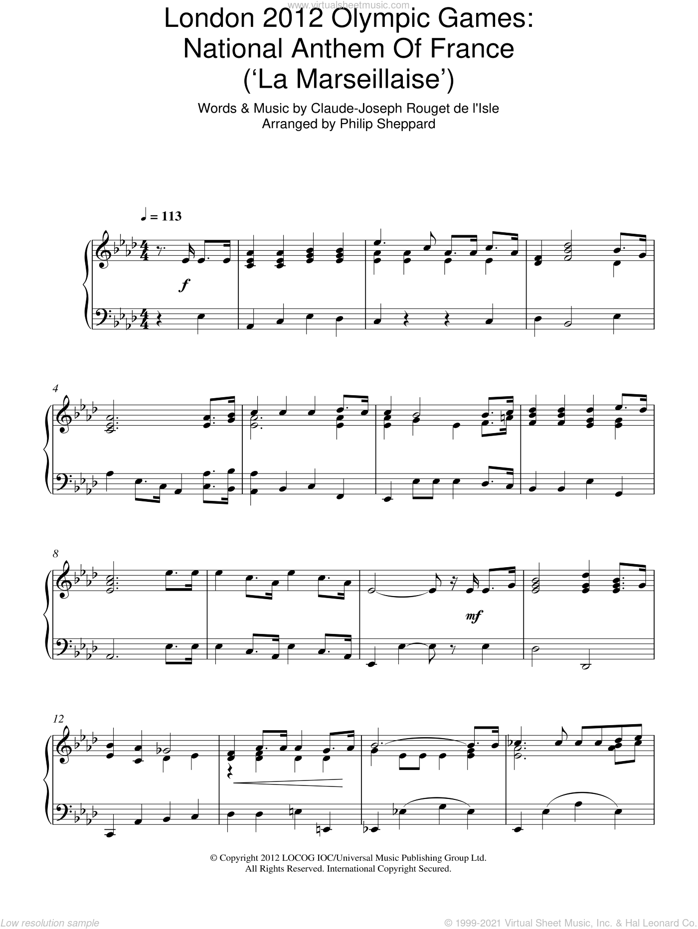 London 2012 Olympic Games: National Anthem Of France ('La Marseillaise') sheet music for piano solo by Philip Sheppard and Claude Rouget de Lisle, intermediate skill level