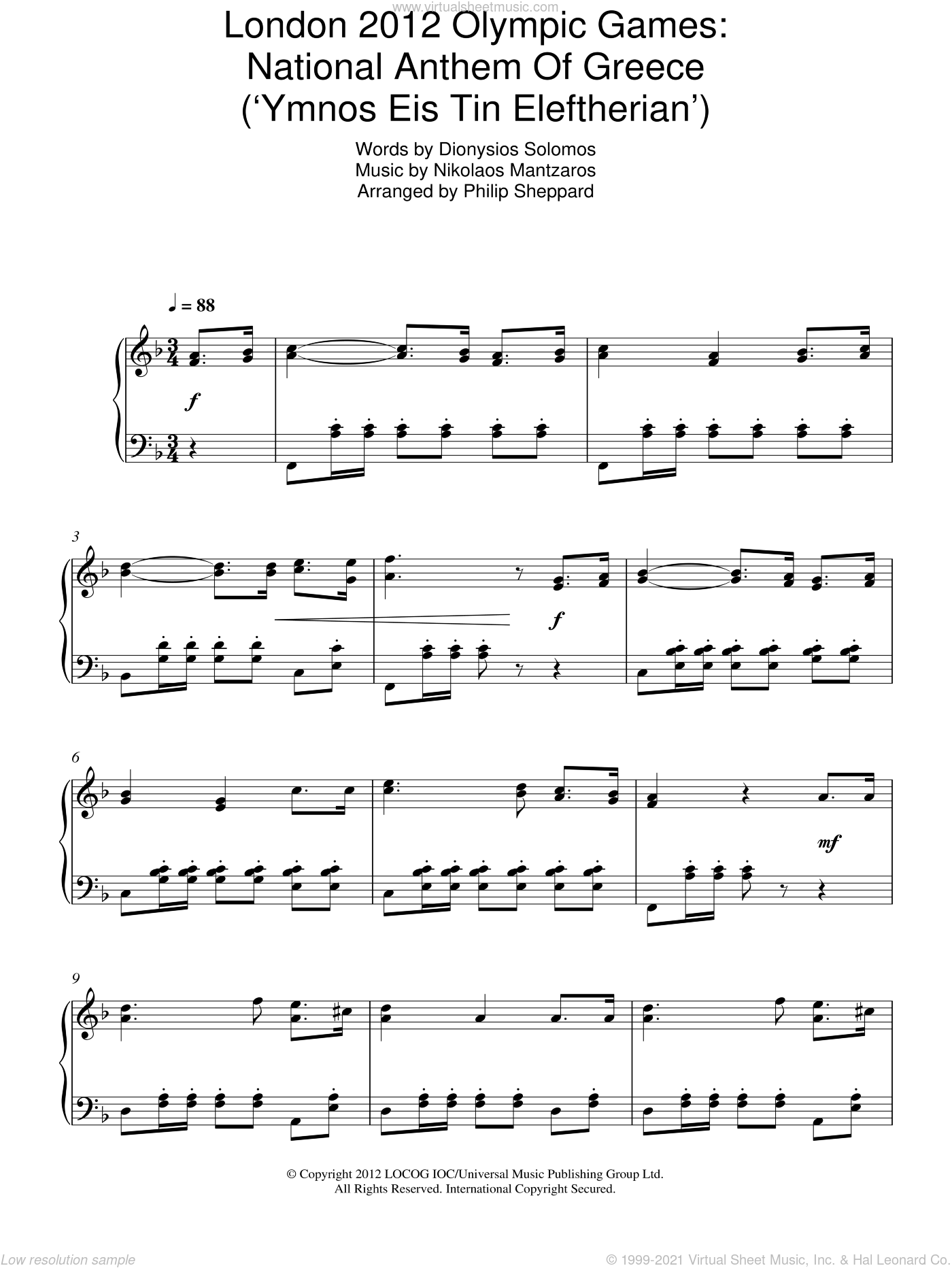 London 2012 Olympic Games: National Anthem Of Greece ('Ymnos Eis Tin Eleftherian') sheet music for piano solo by Philip Sheppard, Dionysios Solomos and Nikolaos Mantzaros, intermediate skill level