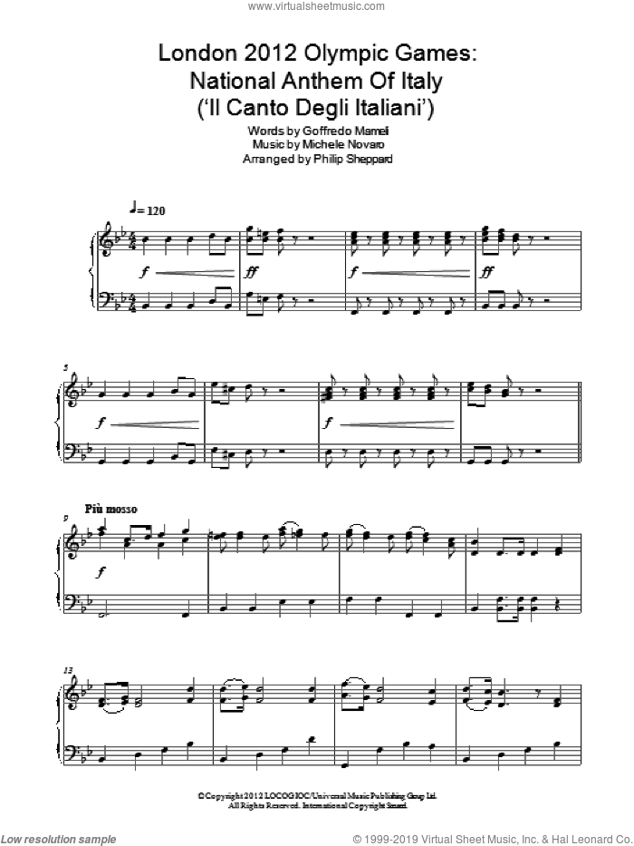 London 2012 Olympic Games: National Anthem Of Italy ('Il Canto Degli Italiani') sheet music for piano solo by Philip Sheppard, Goffredo Mameli and Michele Novaro, intermediate skill level
