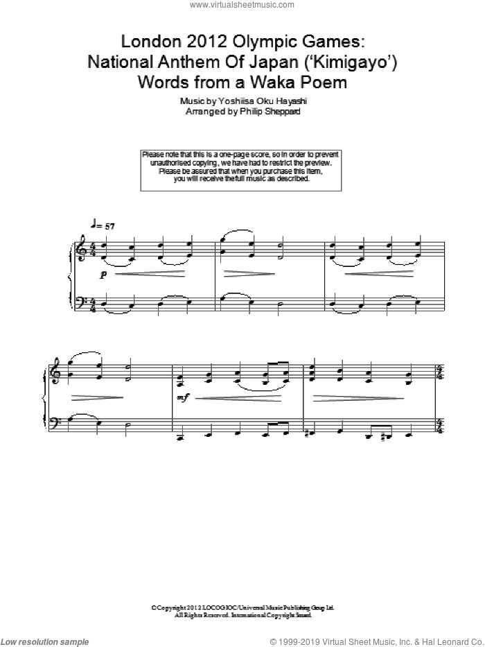 London 2012 Olympic Games: National Anthem Of Japan ('Kimigayo') sheet music for piano solo by Philip Sheppard. Score Image Preview.