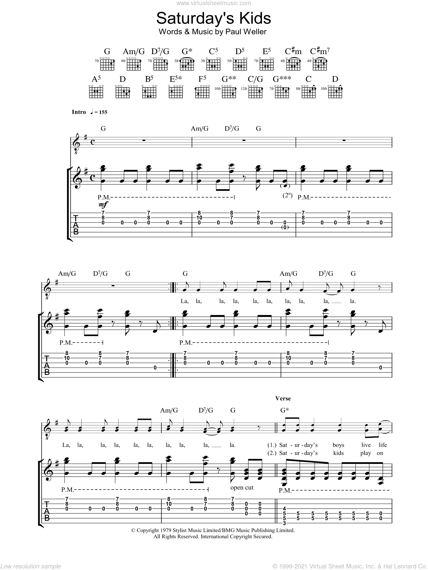 Saturday's Kids sheet music for guitar (tablature) by Paul Weller and The Jam. Score Image Preview.