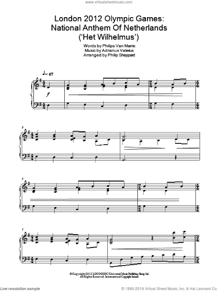 London 2012 Olympic Games: National Anthem Of Netherlands ('Het Wilhelmus') sheet music for piano solo by Philips Van Marnix
