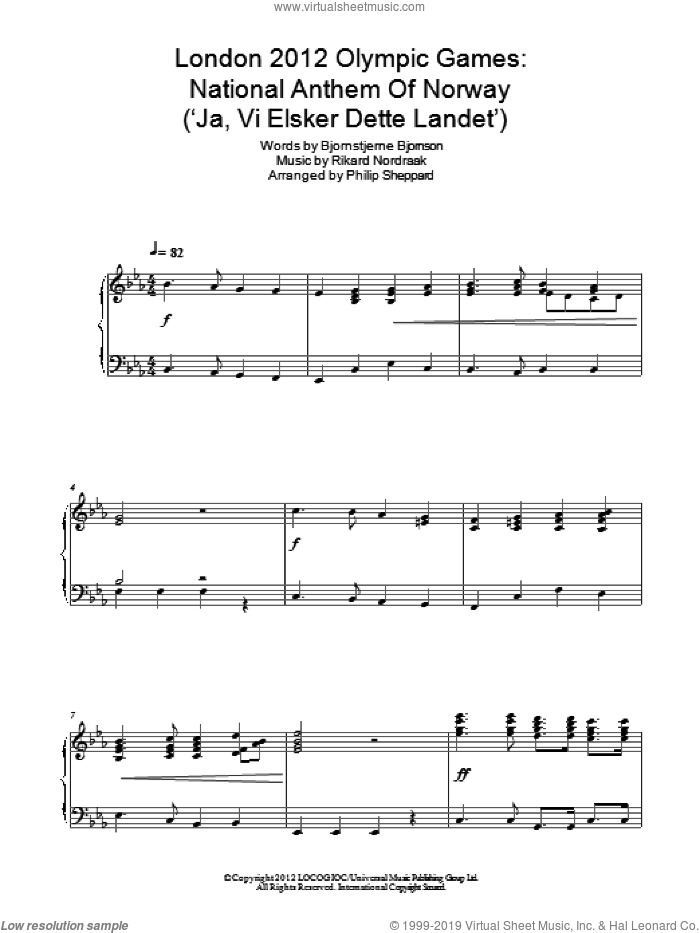 London 2012 Olympic Games: National Anthem Of Norway ('Ja, Vi Elsker Dette Landet') sheet music for piano solo by Philip Sheppard, Bjornstjerne Bjornson and Rikard Nordraak, intermediate. Score Image Preview.