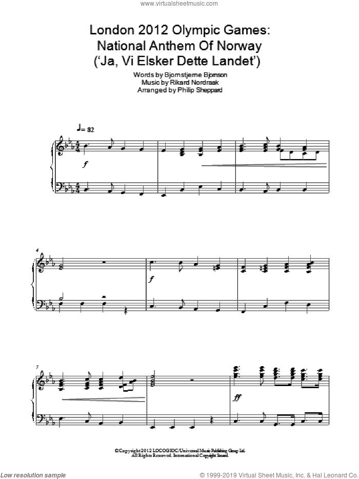 London 2012 Olympic Games: National Anthem Of Norway ('Ja, Vi Elsker Dette Landet') sheet music for piano solo by Philip Sheppard, Bjornstjerne Bjornson and Rikard Nordraak, intermediate skill level