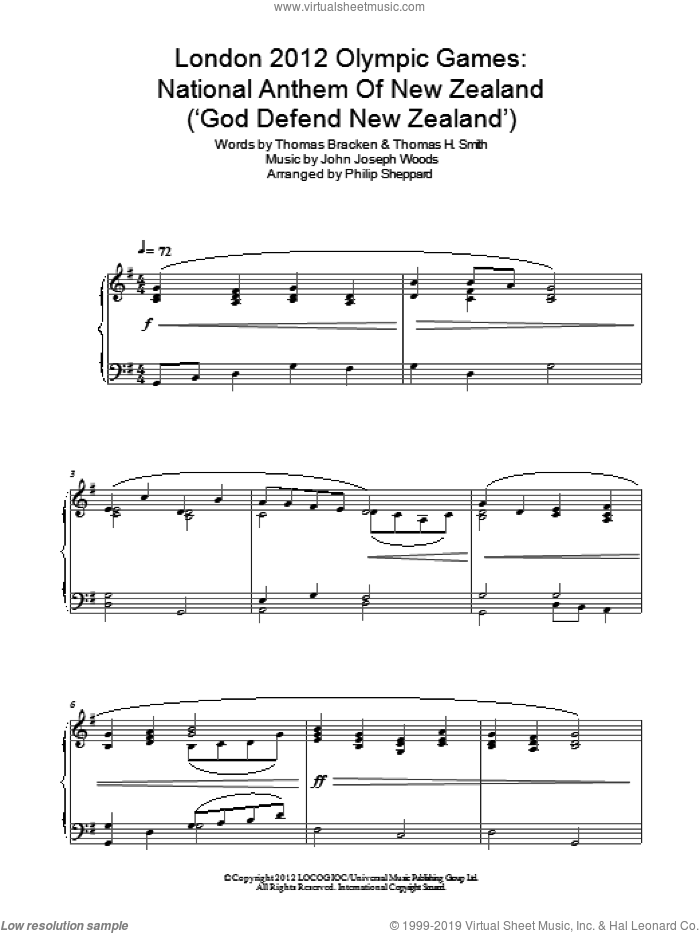 London 2012 Olympic Games: National Anthem Of New Zealand ('God Defend New Zealand') sheet music for piano solo by Philip Sheppard and John Joseph Woods. Score Image Preview.