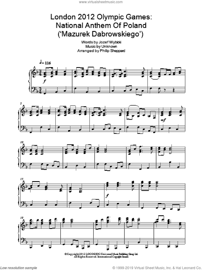 London 2012 Olympic Games: National Anthem Of Poland ('Mazurek Dabrowskiego') sheet music for piano solo by Jozef Wybicki. Score Image Preview.