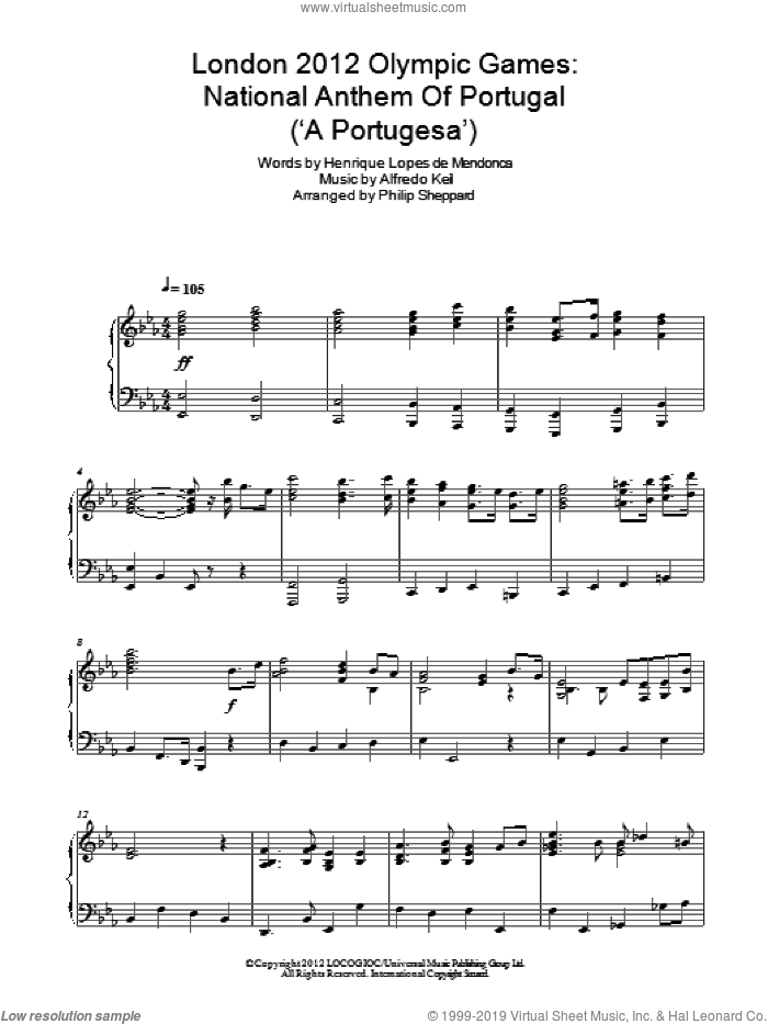 london 2012 Olympic Games: National Anthem Of Portugal ('A Portugesa') sheet music for piano solo by Philip Sheppard, Alfredo Keil and Henrique Lopes de Mendonca, intermediate skill level