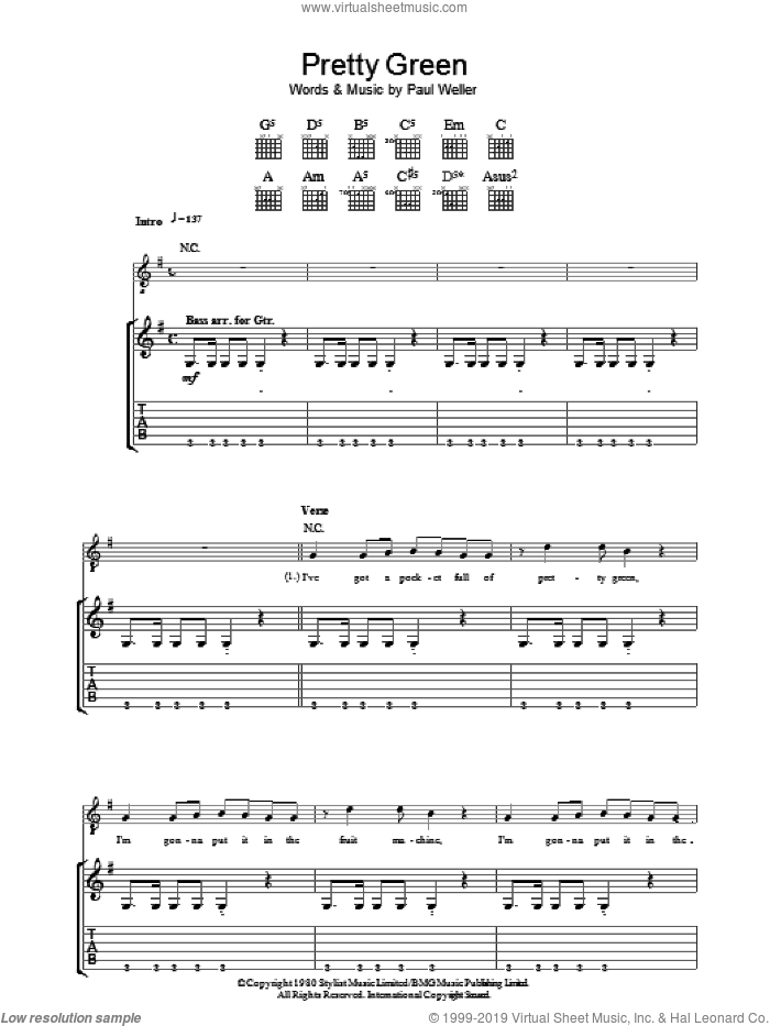 Pretty Green sheet music for guitar (tablature) by The Jam and Paul Weller, intermediate guitar (tablature). Score Image Preview.