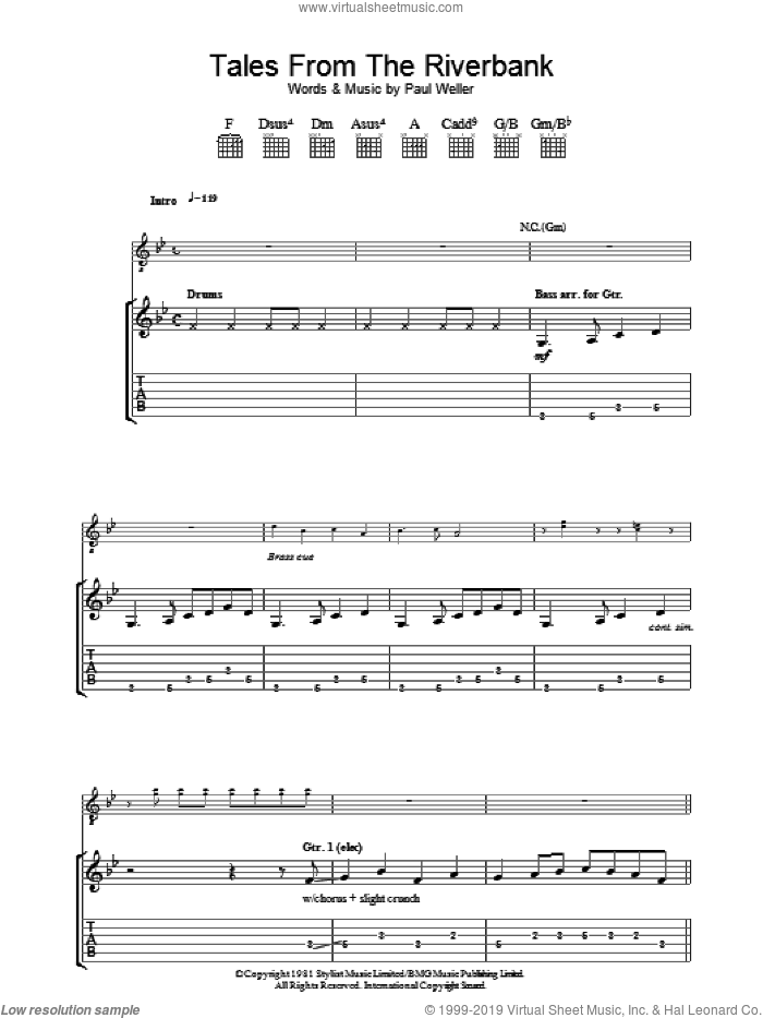 Tales From The Riverbank sheet music for guitar (tablature) by The Jam and Paul Weller, intermediate. Score Image Preview.
