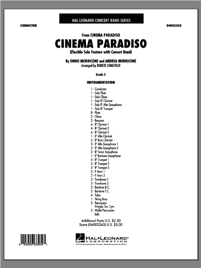 Cinema Paradiso (Flexible Solo with Band) (COMPLETE) sheet music for concert band by Ennio Morricone, Andrea Morricone and Robert Longfield, intermediate skill level