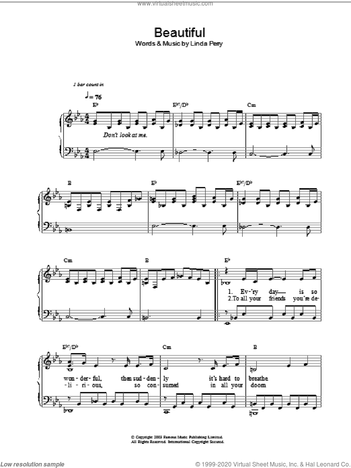 Beautiful sheet music for voice, piano or guitar by Linda Perry