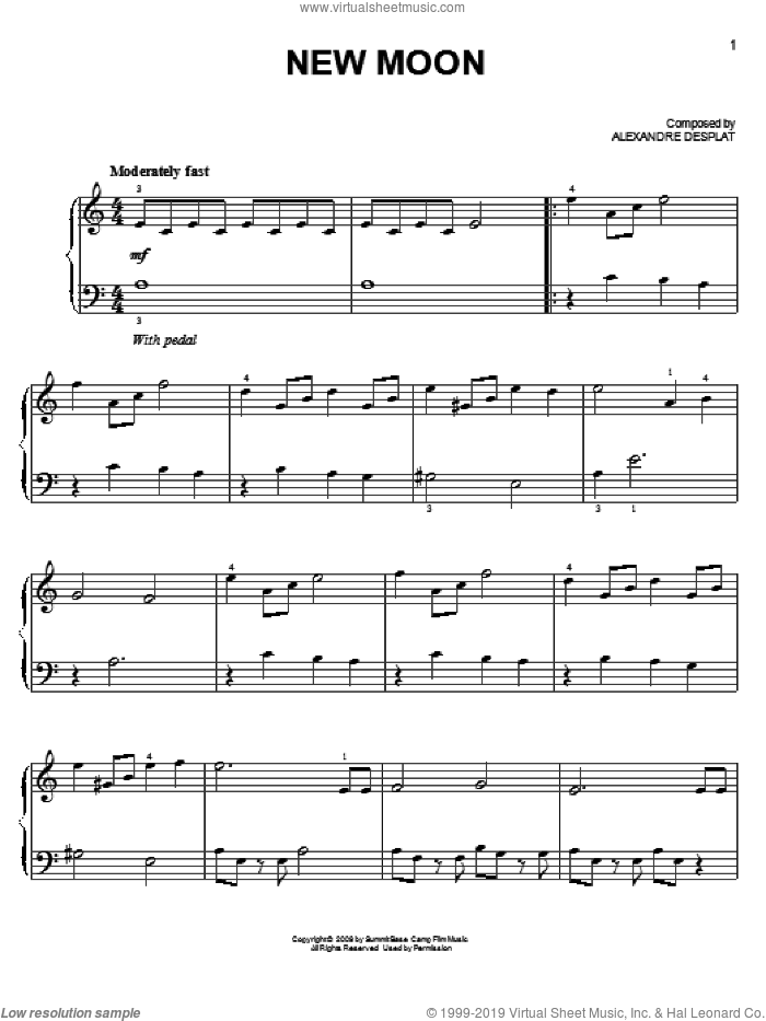 New Moon sheet music for piano solo by Alexandre Desplat and Twlight: New Moon (Movie), easy skill level