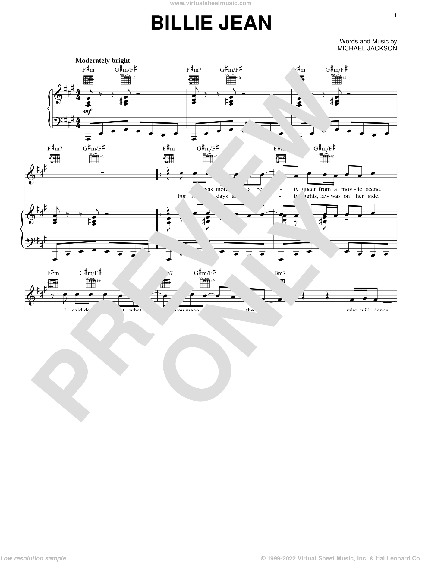 Billie Jean sheet music for voice, piano or guitar by Michael Jackson, intermediate skill level