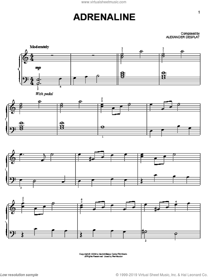 Adrenaline sheet music for piano solo by Alexandre Desplat. Score Image Preview.