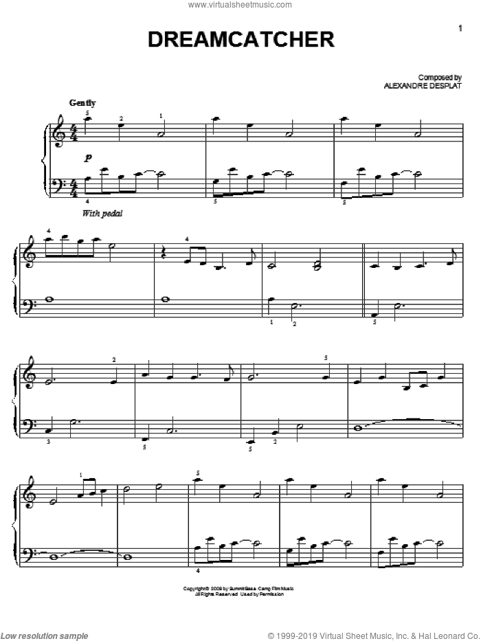 Dreamcatcher sheet music for piano solo (chords) by Alexandre Desplat