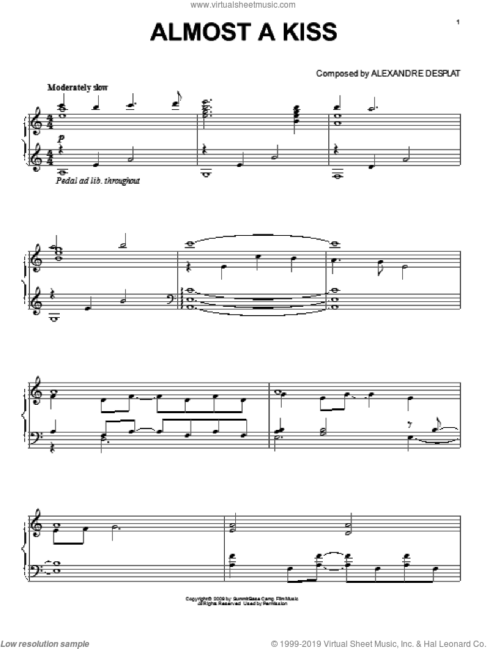 Almost A Kiss sheet music for piano solo by Alexandre Desplat and Twlight: New Moon (Movie), intermediate skill level
