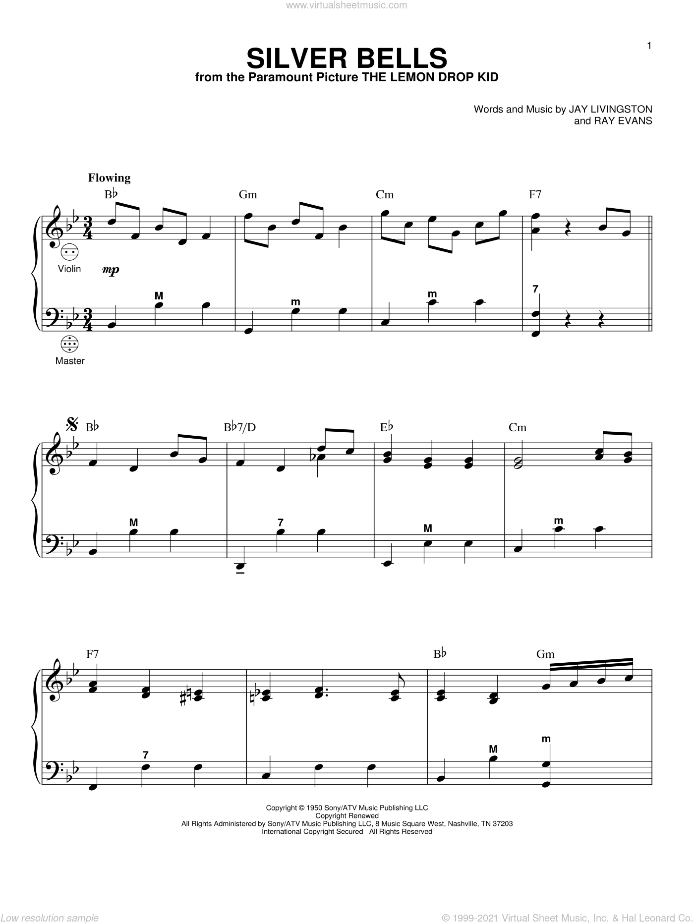 Silver Bells sheet music for accordion by Jay Livingston and Ray Evans, intermediate skill level