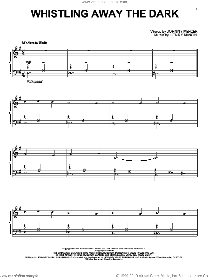 Whistling Away The Dark sheet music for piano solo by Henry Mancini and Johnny Mercer, intermediate skill level