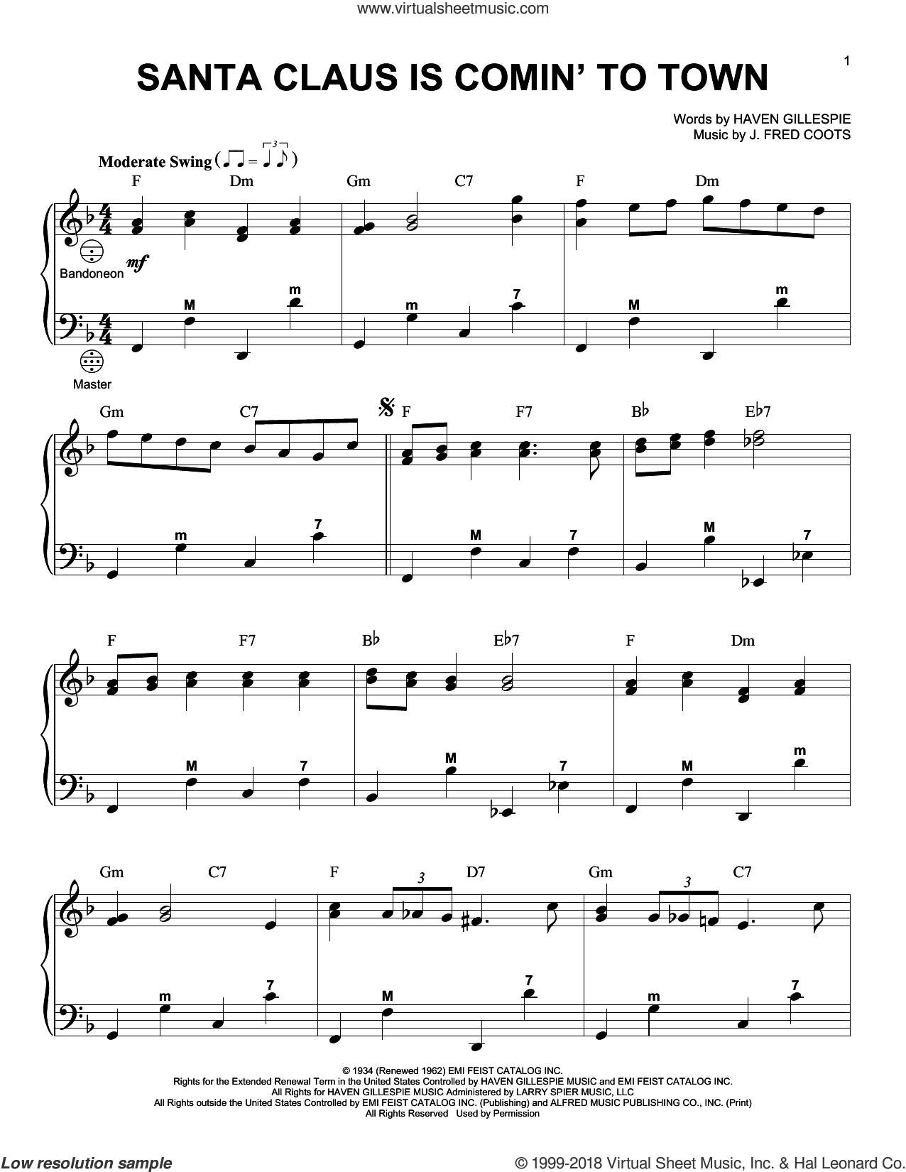Santa Claus Is Comin' To Town sheet music for accordion by J. Fred Coots and Haven Gillespie, intermediate skill level