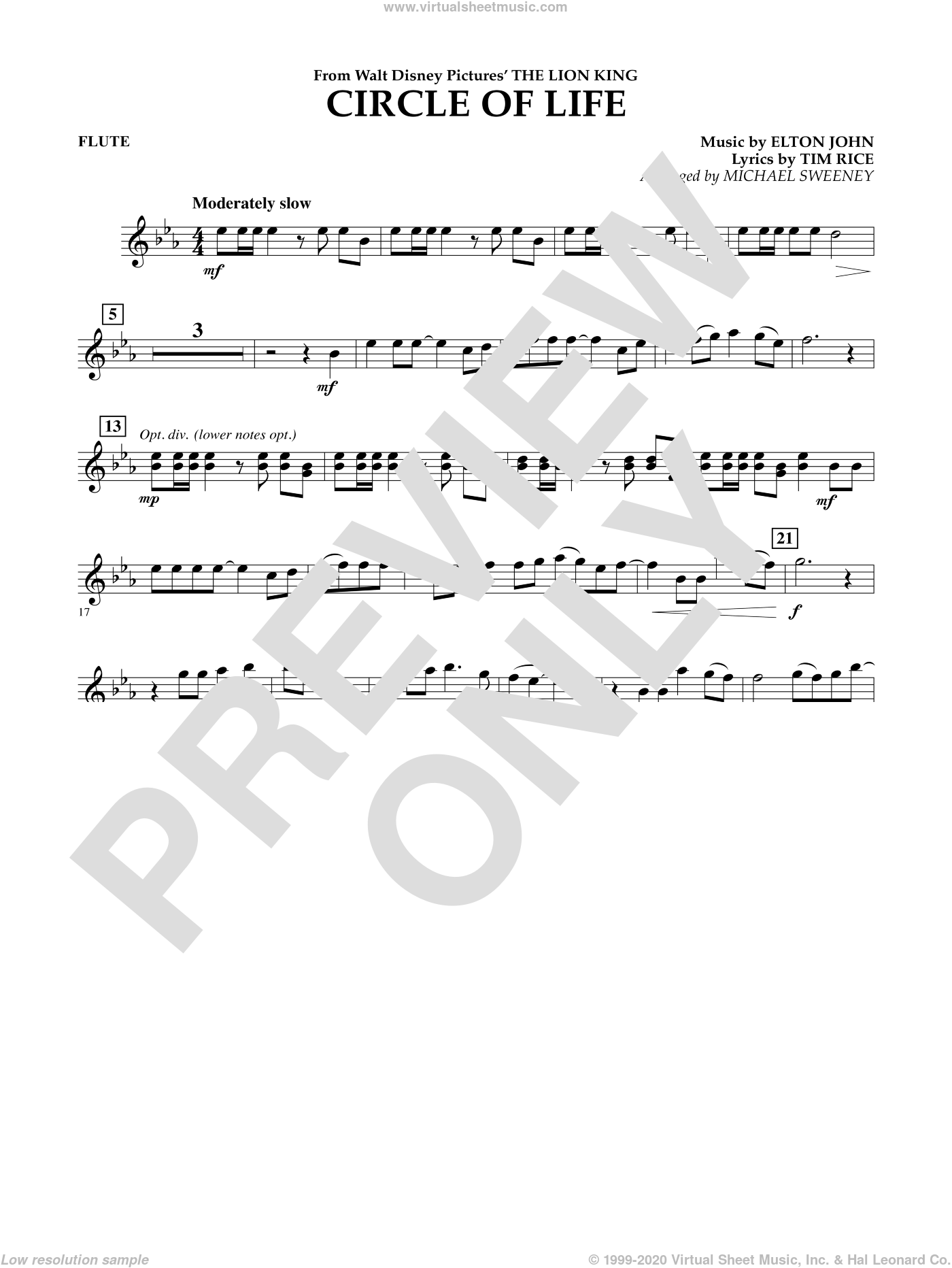 Circle of Life (from The Lion King) sheet music for concert band (flute) by Tim Rice, Elton John and Michael Sweeney. Score Image Preview.