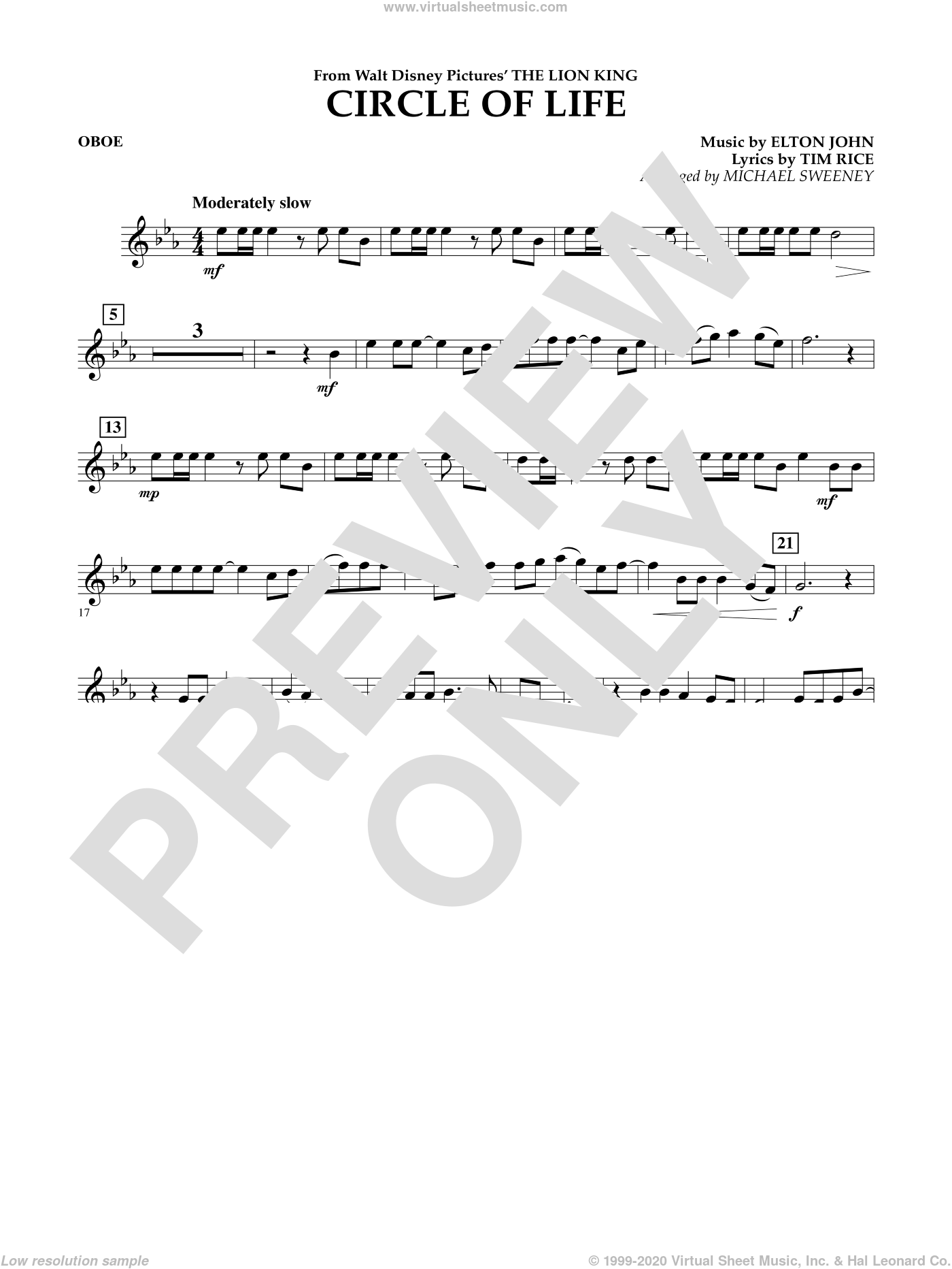 Circle of Life (from The Lion King) sheet music for concert band (oboe) by Elton John, Michael Sweeney and Tim Rice, intermediate. Score Image Preview.