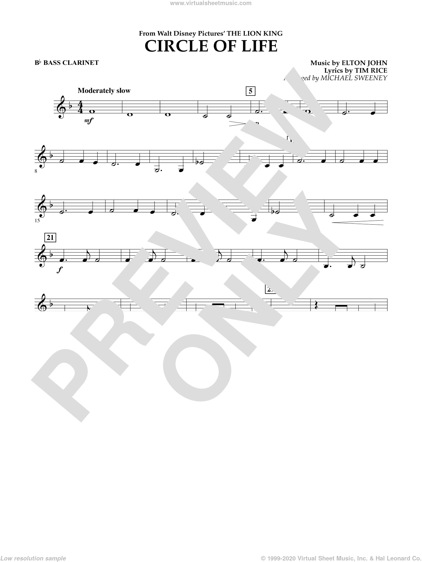 Circle of Life (from The Lion King) sheet music for concert band (Bb bass clarinet) by Elton John, Michael Sweeney and Tim Rice, intermediate. Score Image Preview.