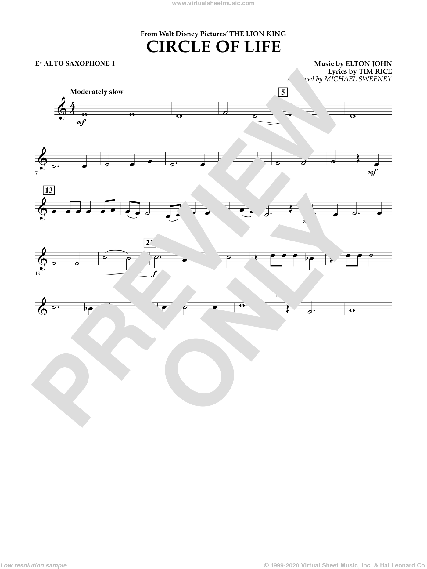 Circle of Life (from The Lion King) sheet music for concert band (Eb alto saxophone 1) by Elton John, Michael Sweeney and Tim Rice, intermediate concert band (Eb alto saxophone 1). Score Image Preview.