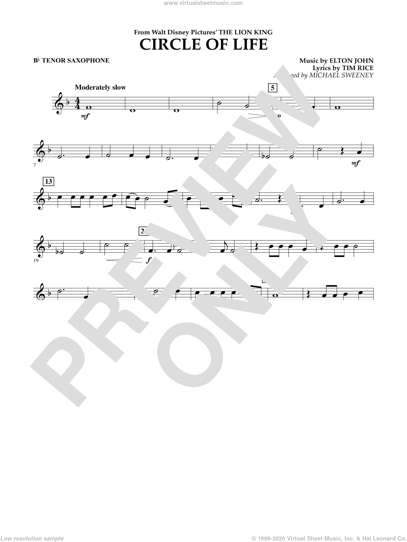 Circle of Life (from The Lion King) sheet music for concert band (Bb tenor saxophone) by Tim Rice, Elton John and Michael Sweeney. Score Image Preview.