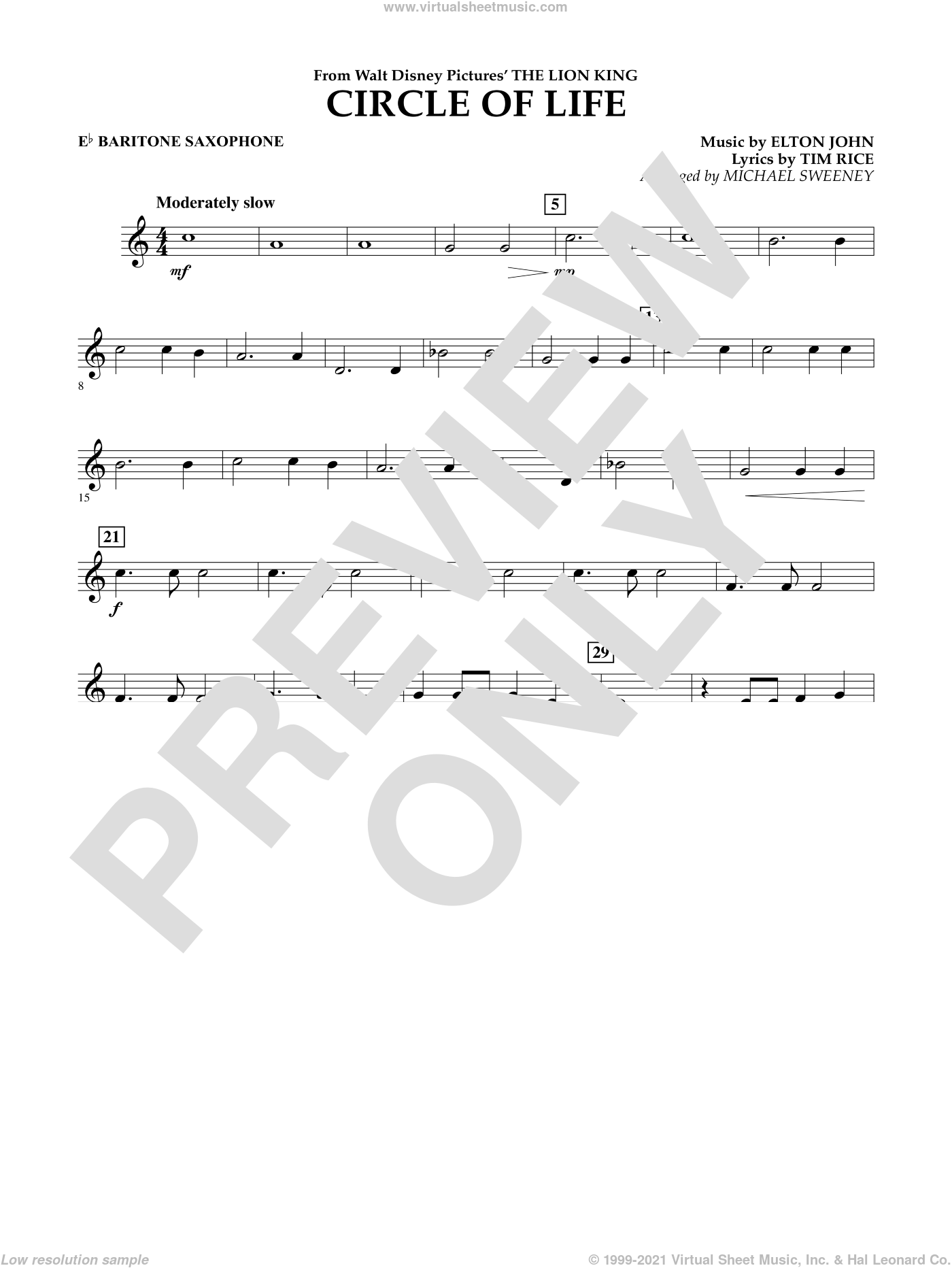 Circle of Life (from The Lion King) sheet music for concert band (Eb baritone saxophone) by Tim Rice, Elton John and Michael Sweeney. Score Image Preview.