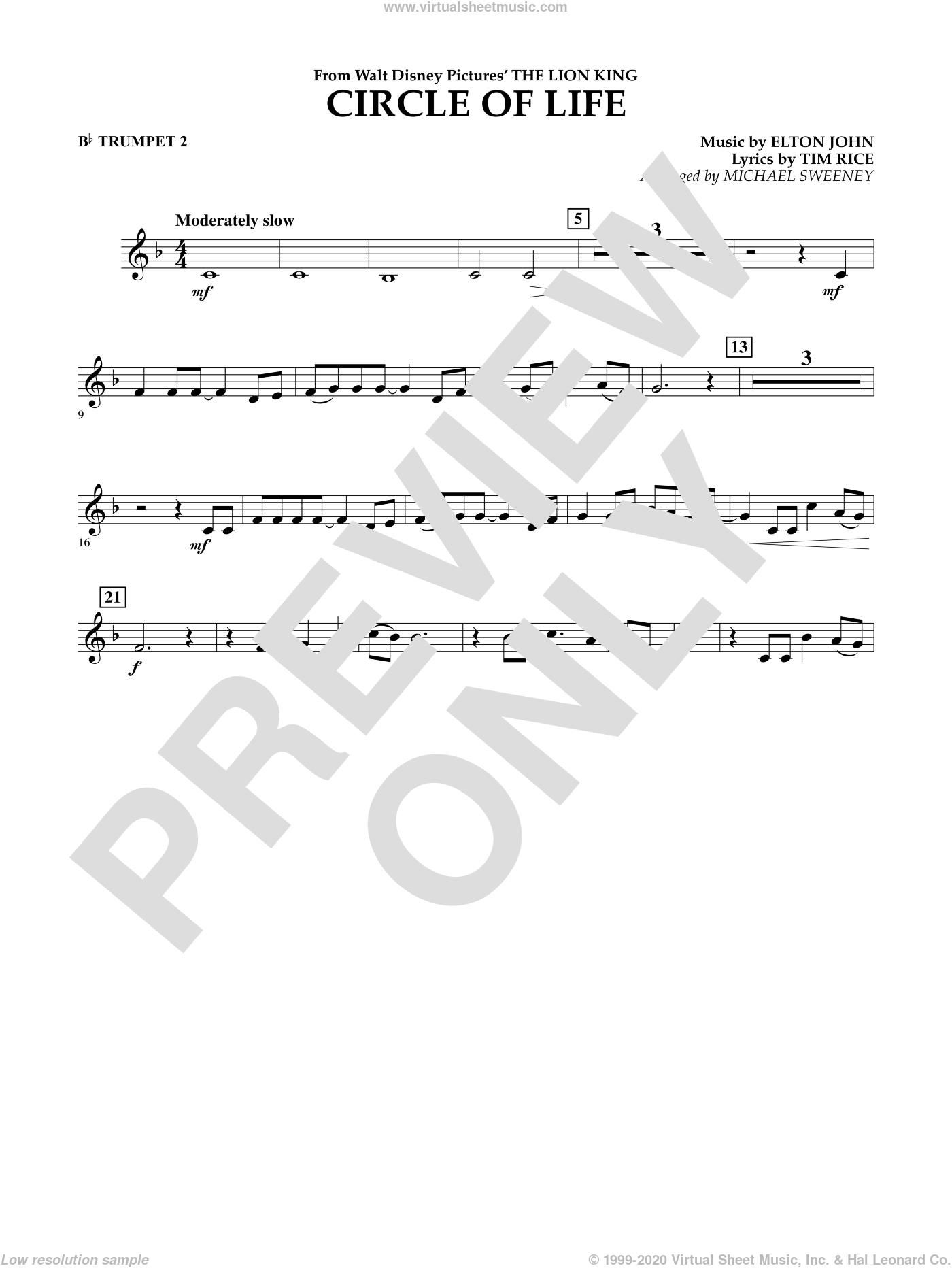 Circle of Life (from The Lion King) sheet music for concert band (Bb trumpet 2) by Elton John, Michael Sweeney and Tim Rice, intermediate concert band (Bb trumpet 2). Score Image Preview.