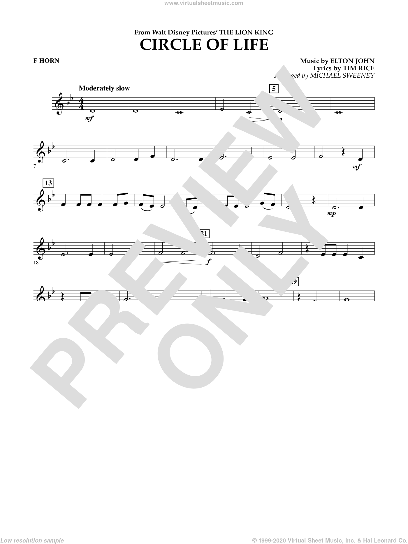 Circle of Life (from The Lion King) sheet music for concert band (f horn) by Tim Rice