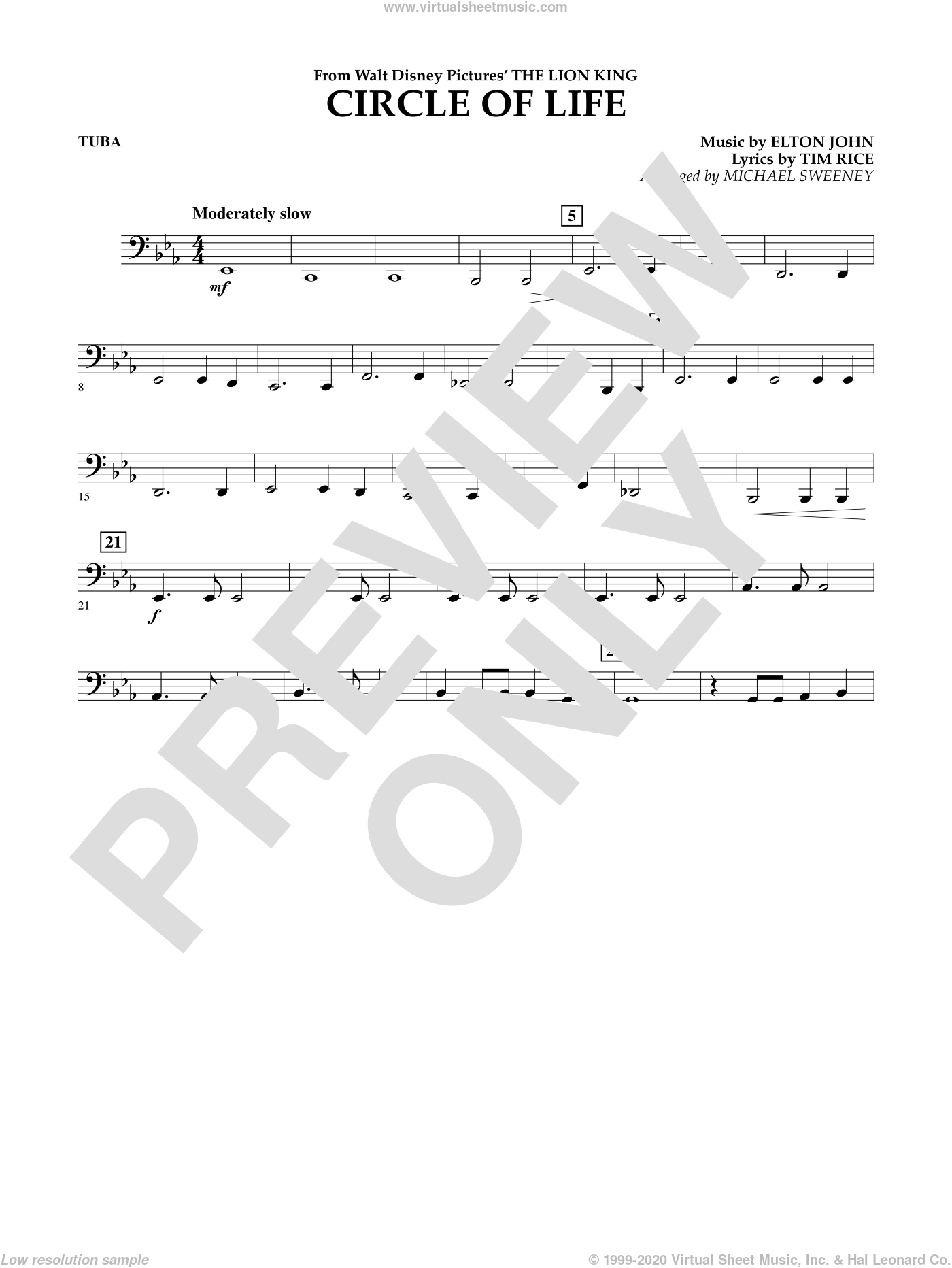 Circle of Life (from The Lion King) sheet music for concert band (tuba) by Elton John, Michael Sweeney and Tim Rice, intermediate. Score Image Preview.