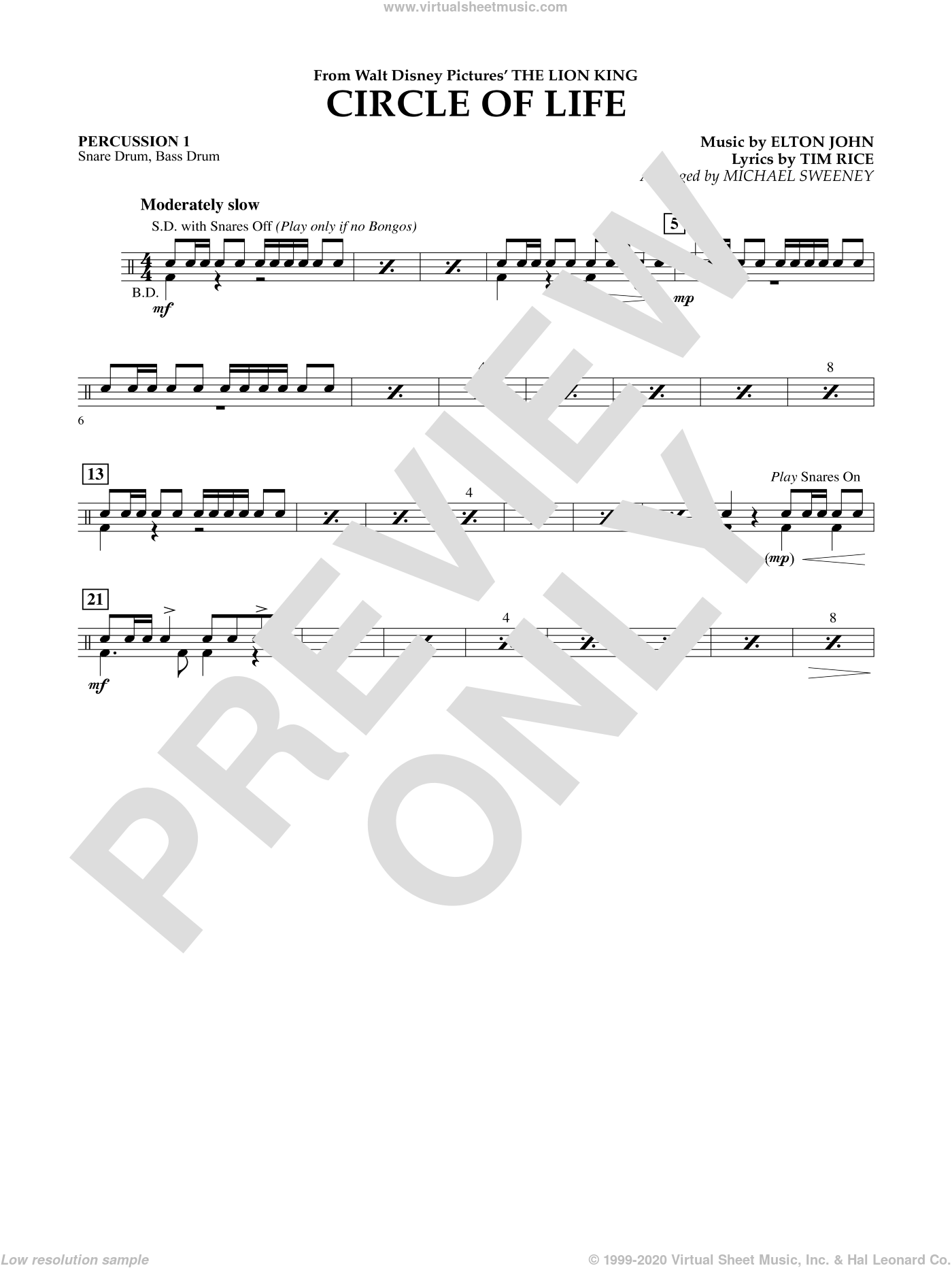 Circle of Life (from The Lion King) sheet music for concert band (percussion 1) by Tim Rice
