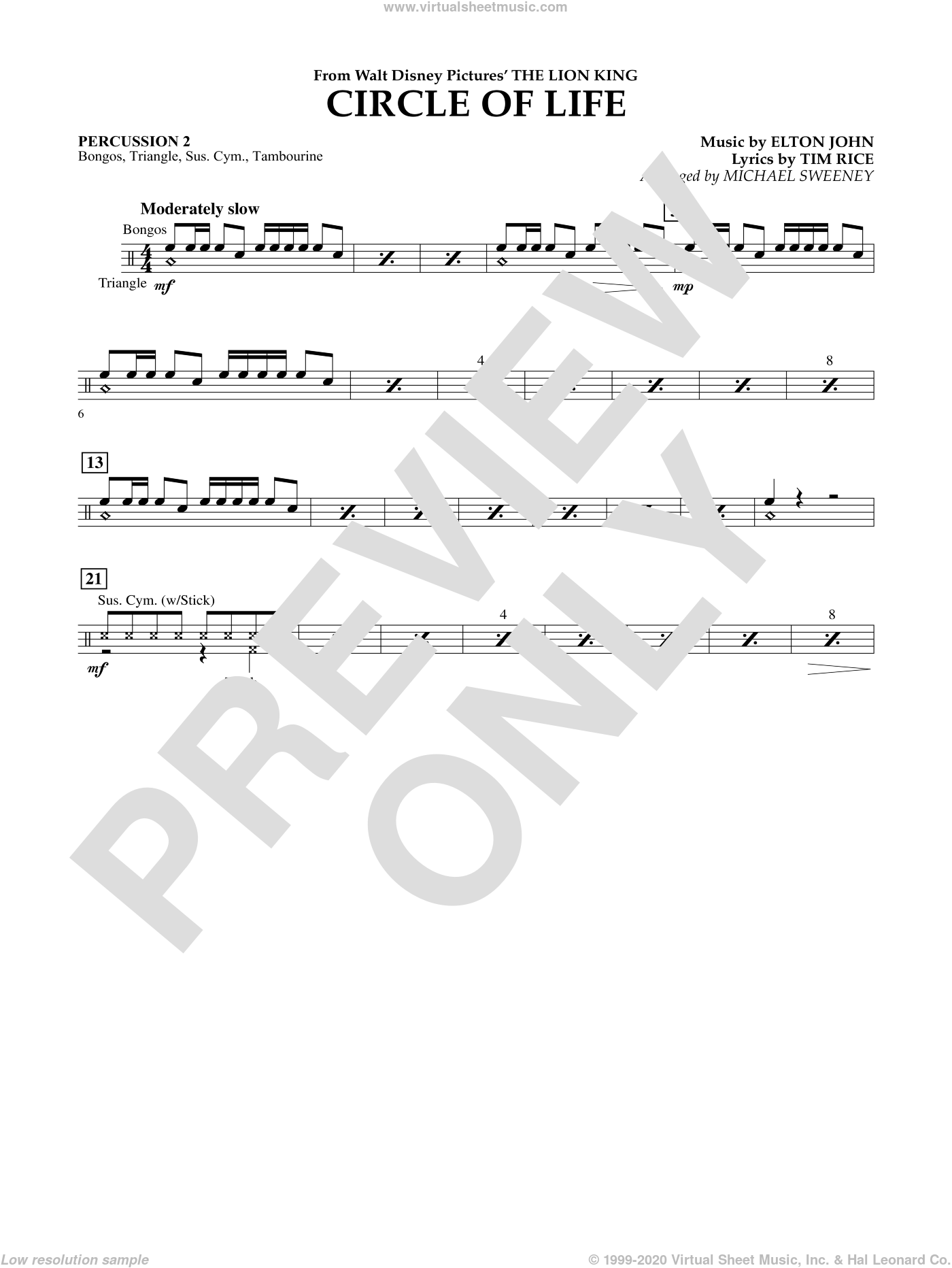 Circle of Life (from The Lion King) sheet music for concert band (percussion 2) by Tim Rice, Elton John and Michael Sweeney. Score Image Preview.