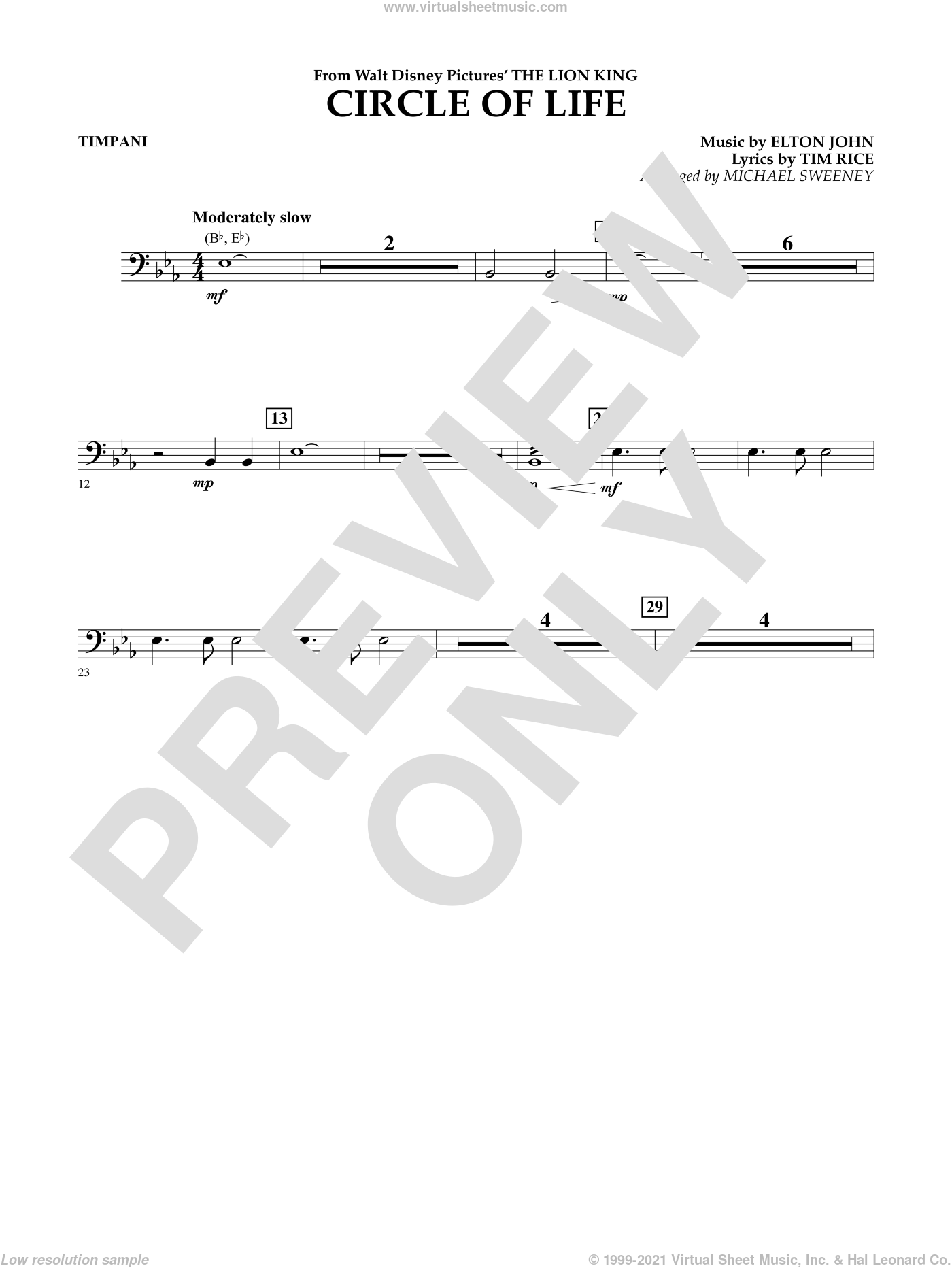 Circle of Life (from The Lion King) sheet music for concert band (timpani) by Tim Rice, Elton John and Michael Sweeney. Score Image Preview.