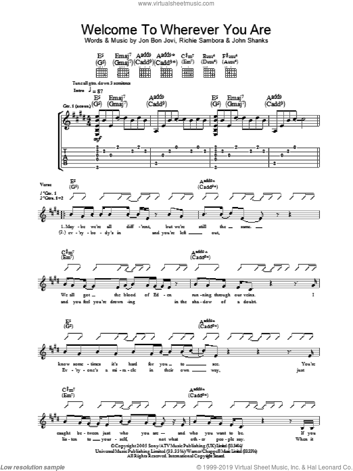 Welcome To Wherever You Are sheet music for guitar (tablature) by Bon Jovi, John Shanks and Richie Sambora, intermediate skill level