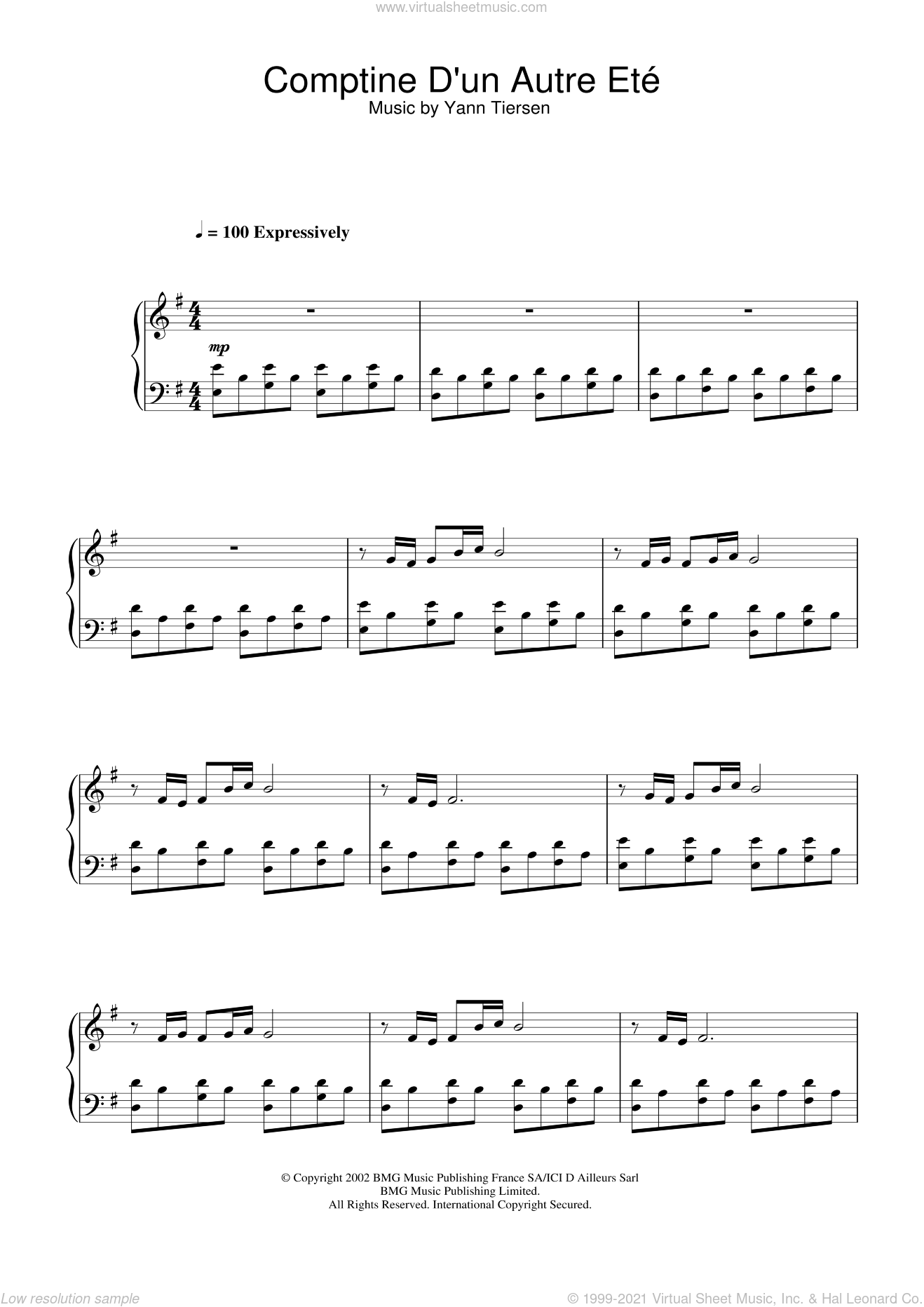 Comptine D'un Autre Ete (from Amelie) sheet music for piano solo by Yann Tiersen, intermediate skill level