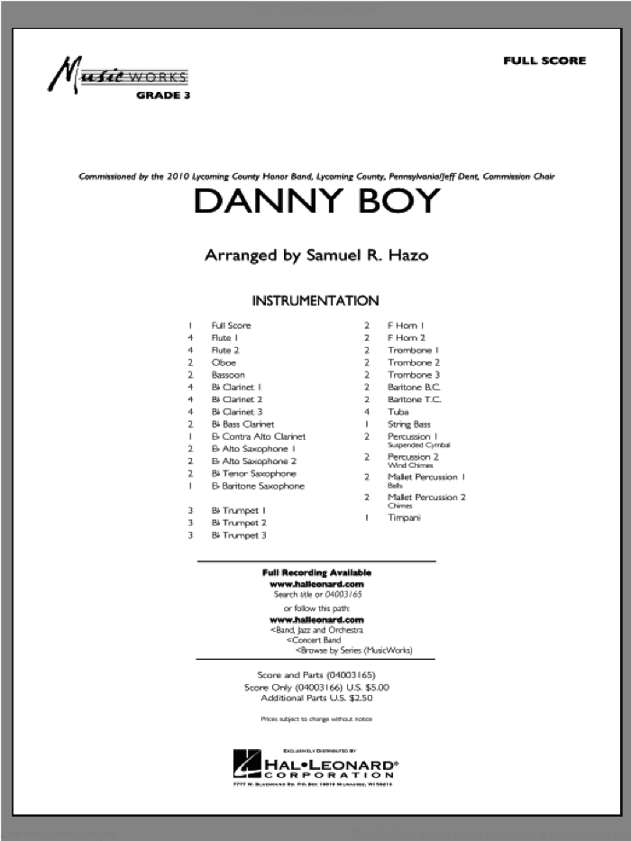 Danny Boy (COMPLETE) sheet music for concert band by Samuel R. Hazo, intermediate concert band. Score Image Preview.