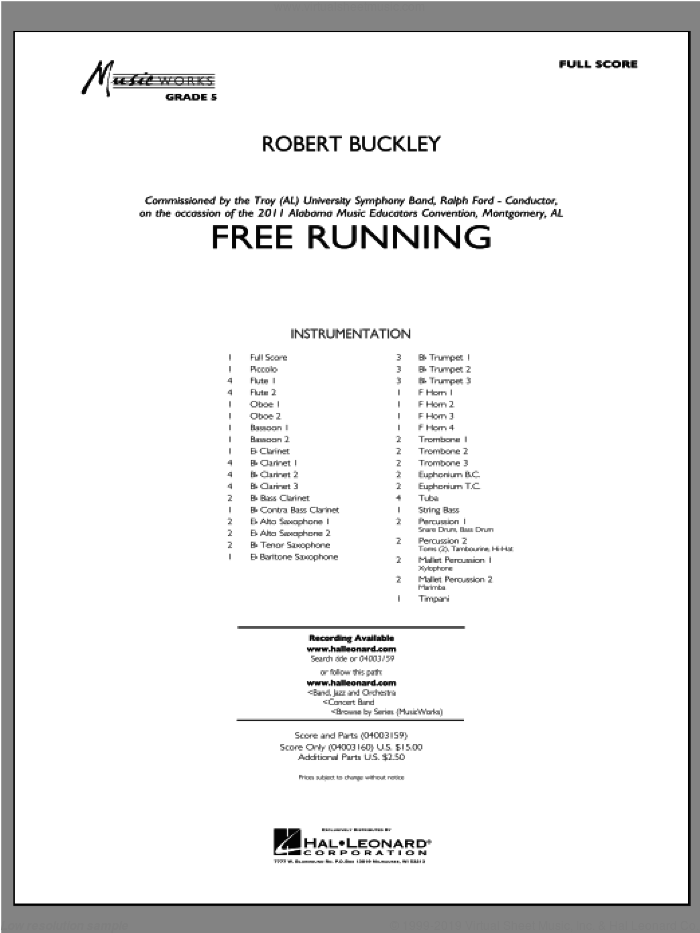 Free Running (COMPLETE) sheet music for concert band by Robert Buckley, intermediate concert band. Score Image Preview.
