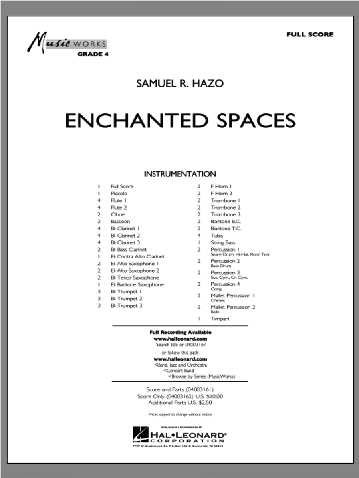 Enchanted Spaces (COMPLETE) sheet music for concert band by Samuel R. Hazo, intermediate skill level