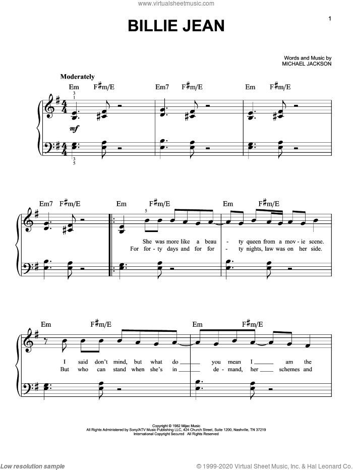 Billie Jean, (easy) sheet music for piano solo by Michael Jackson, easy skill level
