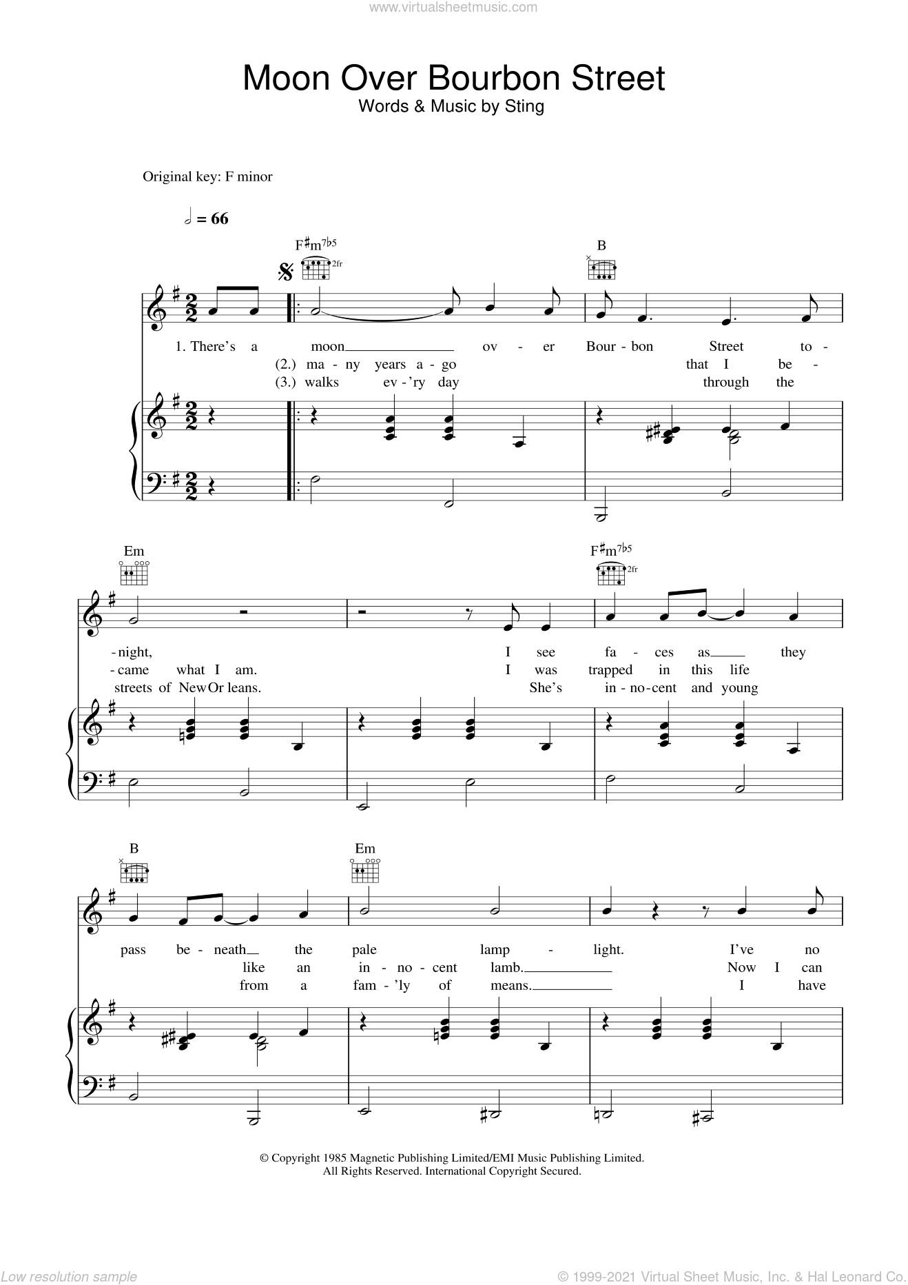 Moon Over Bourbon Street sheet music for voice, piano or guitar by Sting, intermediate skill level