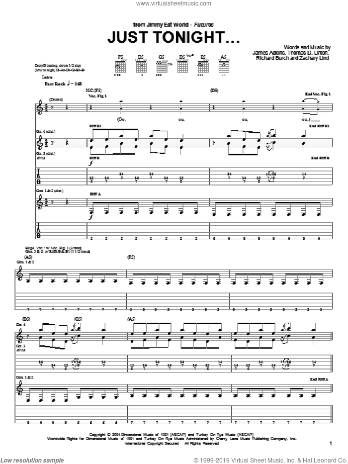 Just Tonight... sheet music for guitar (tablature) by Jimmy Eat World, James Adkins, Richard Burch and Zachary Lind, intermediate. Score Image Preview.