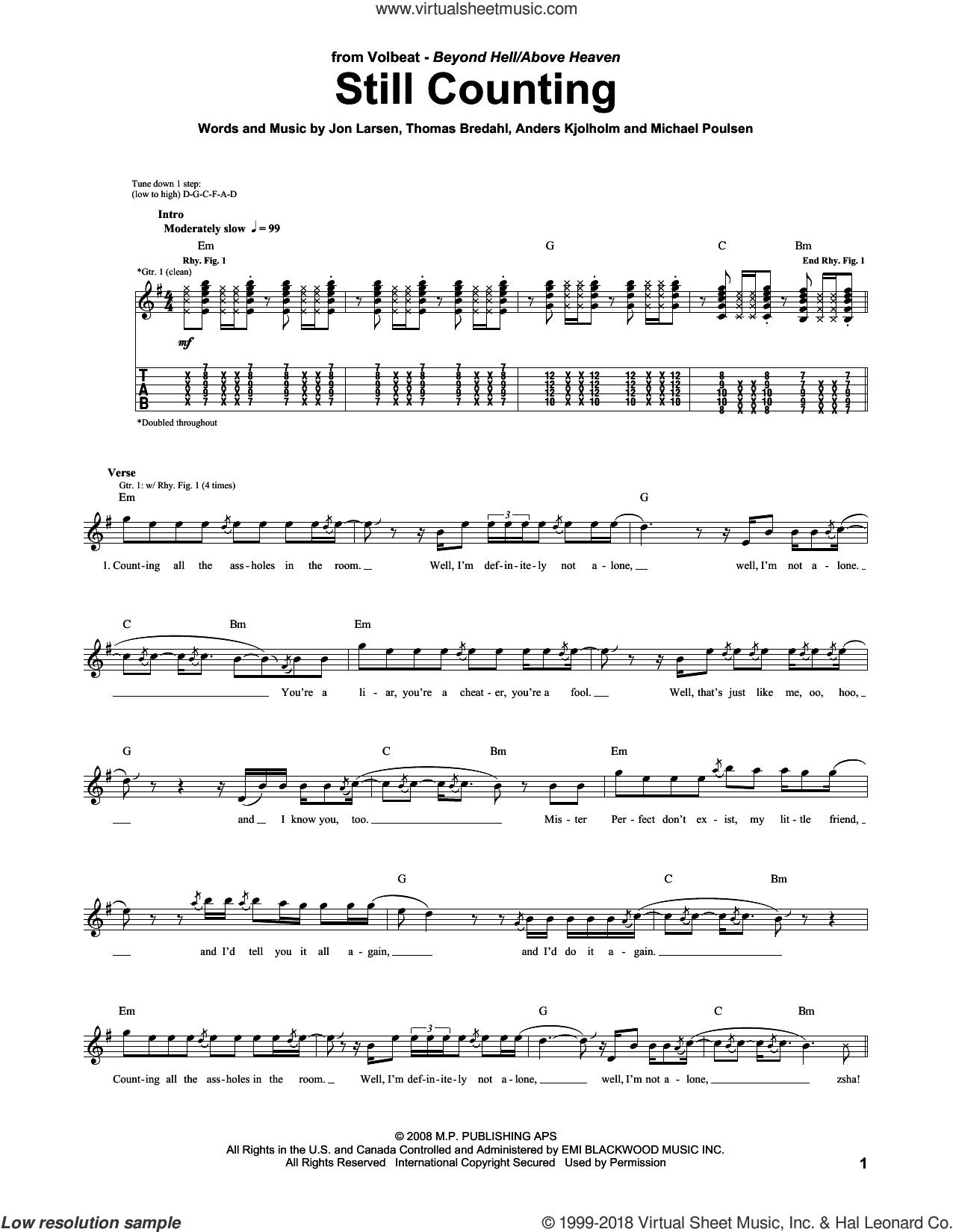 Still Counting sheet music for guitar (tablature) by Volbeat, Anders Kjolholm, Jon Larsen, Michael Poulsen and Thomas Bredahl, intermediate skill level